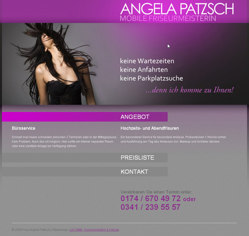 Angela Patzsch Website Screenshot